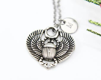 Scarab Necklace Silver Scarab Charm Egyptian Necklace Beetle Necklace Insect Jewelry Personalized Necklace Initial Charm Initial Necklace