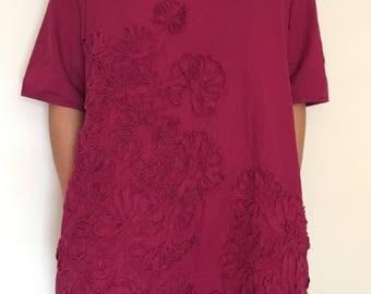 Women linen oversize flower dress burgundy dress