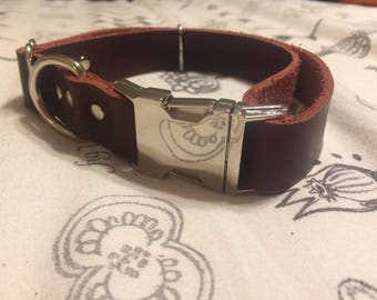 Leather Buckle Collar- Zinc Hardware, Tongue or Side Release Buckle. Leather dog collar, Custom made leather dog collar, zinc dog collar