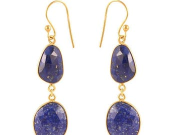 ON SALE Lapis Lazuli Handmade Dangle Earrings - 925 Sterling Silver 24k Micro Gold Plated