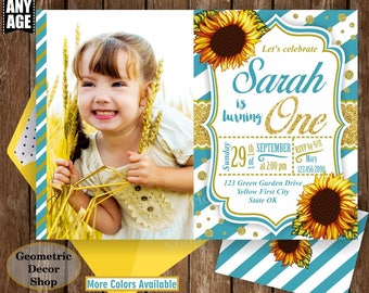 Sunflower Birthday Invitation / First Party Invite Fall Invitation Floral Girl 1st Flowers Gold Teal glitter / One / BDSF3/4/5