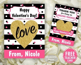 Heart / Gold / Valentine / Valentines / Card / Pink / Stripes / Black / Valentine's Day / Personalized Tags / teacher / Kids VCard76