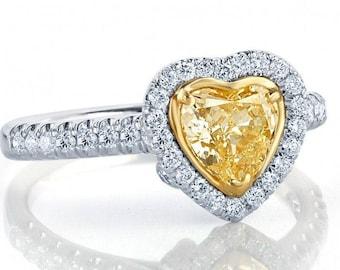 Heart Diamond Ring, 1.22 Ct, Heart Shaped  Ring, Yellow Diamond Engagement Ring, Halo Diamond Engagement Ring, Promise Ring, 14k White Gold