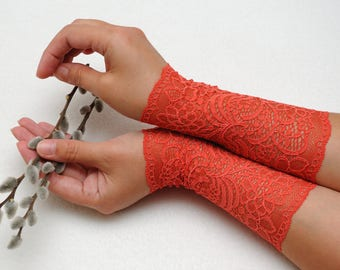 womens gift for girlfriend boho Lace bracelets Filigree lace cuffs Orange cuff bracelet Lace wrist cuff Trendy accessories womens fashion