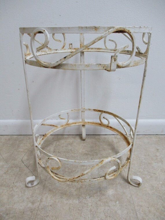 Vintage Mid Century Outdoor Patio Porch 2 Tier Lamp End Table B