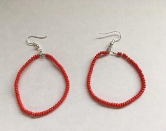 Red Bead Hoop Earrings