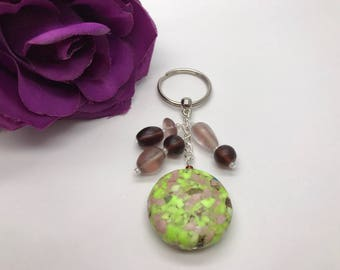Glass & Stone Bag Charm Mother's Day Valentine's Day Keyring