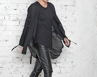 SALE Black Top / Asymmetric Top / White Tee / Baggy Shirt / Long Blouse / Drape Tunic / Loose Shirt / Plus Size Top / Plus Size Tee / White