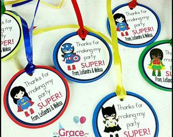 12 Girl Superhero Favor Tags w/ cello bags