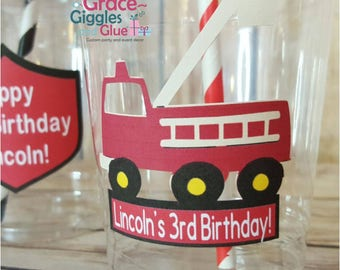 12 Personalized Firefighter Themed Party Cups with Straws and Lids