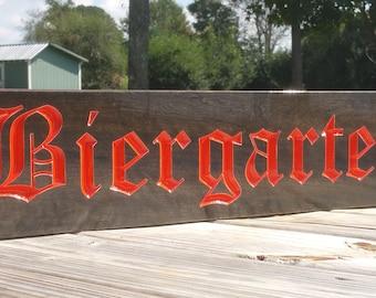 Biergarten Beer Garden German Beer Sign Wood Bar Sign Bavarian Plaque