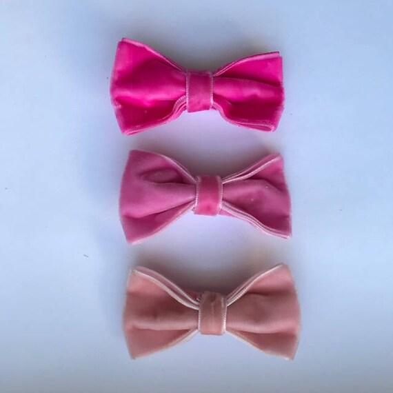 Pink 3 Pack - Luxe Velvet Medium Bow