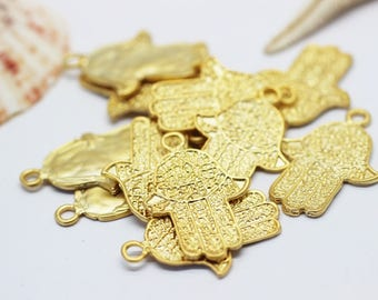 3 Pcs 24 K Matt Gold Plated Hamsa Charm 24x34 mm - Hamsa Hand Necklace Findings - Fatima Hand - Hamsa Charms - Gold plated hamsa pendant