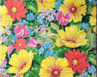 Decoupage paper napkins Decoupage paper supplies Napkins for decoupage  Floral napkins Flower