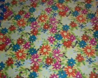 Brand New Bright Rainbow Color Field of Wild Flowers Double Sided Hand Tied No Sew Fleece Rag Blanket