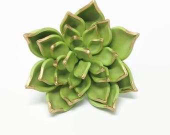 Green and Gold Succulent Sugar Flower for wedding cake toppers and gumpaste decorations
