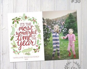 50% OFF Most Wonderful Time of the Year Photo Christmas Card, Family Christmas Card, Full Photo Christmas Card, Design #29