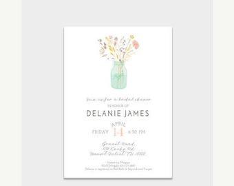 50% OFF Bridal Shower Invite, Wildflower Bridal Shower Invitation, Digital Invitation, Printed Cards, Bridal Shower