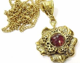 """Vintage Necklace Long 30"""" with Floral Pendant Purple Stone R Bijoux"""