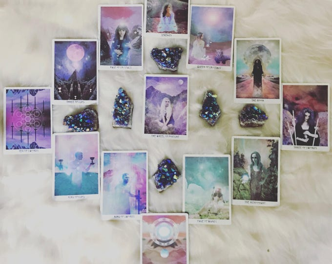 "Featured listing image: TAROT reading ""ANNUAL"" (card for every full moon for next year) • 13 cards • spirit guides give insight • reiki/saged wild unknown deck"