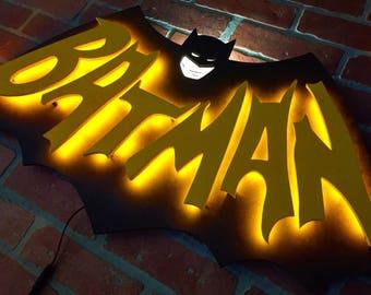 Handmade Original 1960's Adam West Batman TV Show Bat Signal Illuminated DC Comics Superhero Logo for Mancave, Office or Bedroom