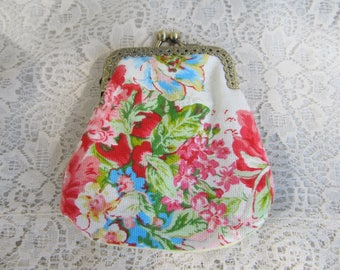 Pink Green Floral Repurposed Linens Change Coin Purse by OldisNew517