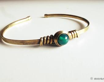 Ethnic bracelet emerald green - patina - green agate - vintage