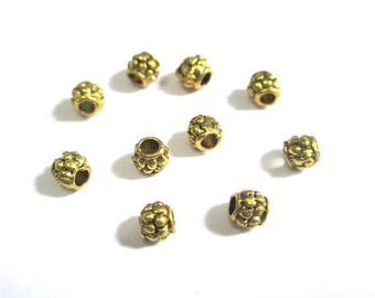 10 metal beads spacers gold color aged 4mm