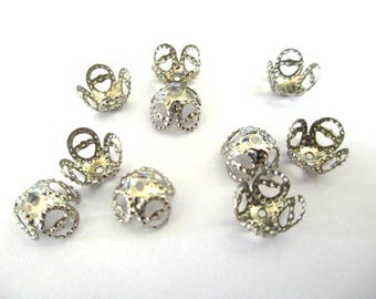 20 bead caps 8mm silver color filigree