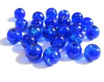 20 blue beads dark cracked glass 6mm (12 P)