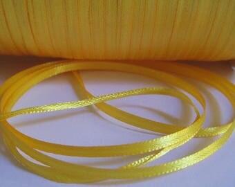 10 m yellow 3mm satin ribbon