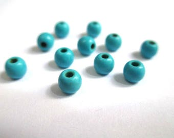 20 blue 4mm synthetic turquoise beads