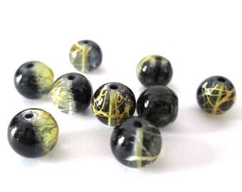 10 black drawbench beads Orange translucent 8mm
