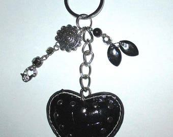 ღ black bag with big heart studded ♥ ღ / unique