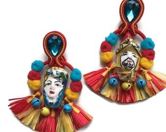 Boho chic earrings, romantic Sicilian earrings, soutache earrings, ceramic earring READY TO SHIP
