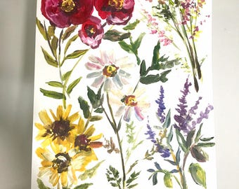 Wildflower print 11x14in