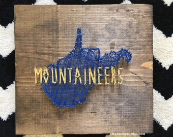 West Virginia Mountaineers String Art Sign, MADE TO ORDER