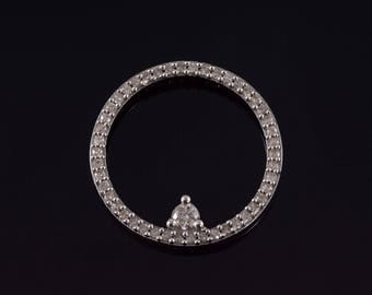 14k Diamond Encrusted Ring Circle Pendant Gold