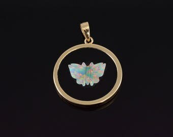 14k Onyx Carved Opal Butterfly Overlay Pendant Gold