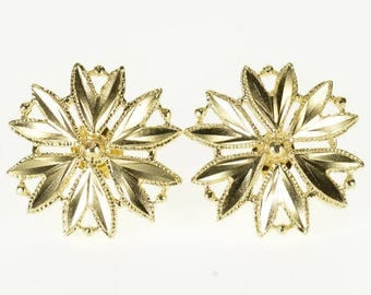 14k Diamond Cut Flower Snowflake Post Back Earrings Gold