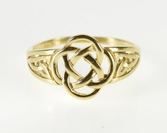 14K Traditional Celtic Knot Symbol Woven Design Ring Size 8.25 Yellow Gold