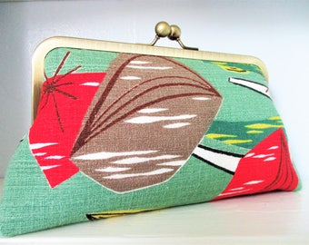 "Green Red Brown Atomic Abstract Vintage Barkcloth Fabric 8"" Antique Brass Kisslock Frame Clutch Wristlet Crossbody Shoulder Bag Purse"