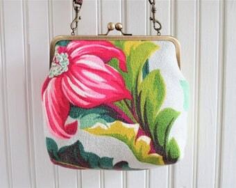 "Pink Green Chartreuse Gray Tropical Floral 1930s Vintage Barkcloth Fabric 8"" Antique Brass Kisslock Frame Crossbody Shoulder Bag Purse"