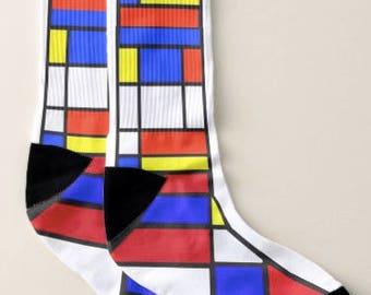 Art Socks,Mondrian Socks, Men Large, Women,Artsy,Artists,Teachers,Artsy Apparel, Gift for Women