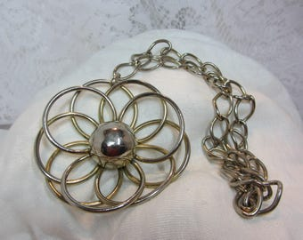 Large Mid Century Silver Tone Finish Abstract Flower Pendant and Matching Chain