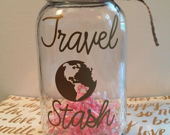 Vacation fund jar, Memory Jar, Money Jar, Treasure Jar, Vacation Savings jar, Coin jar, Savings jar, Travel fund, Travel Stash, Travel Fund