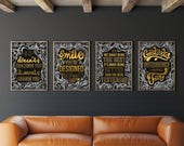 Set Of 4 A3 Typography Posters | Lewis Bartlett | Limited Edition | Print | Poster | Gold Foil