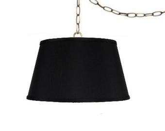 UpgradeLights Swag Lamp Fixture 19 Inch Laminated Silk Pendant Lamp Shade in Black