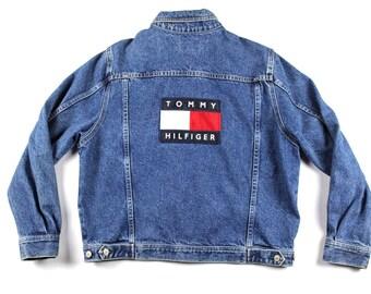 90s Tommy Hilfiger Big Flag Logo Spell Out Denim Jean Jacket Mens Small, Vintage Tommy Hilfiger Denim Jean Jacket, Vintage Jean Jacket Blue