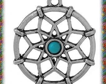 10 pendants antiqued silver rose and turquoise bead